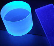 Two plastic scintillators under UV light